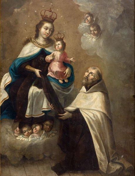 Ignacio Ayala Rodríguez (México), La Virgen del Carmen entrega el escapulario a San Simón Stock, 1793