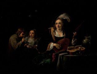 David II Teniers (El joven), Interior con dama tocando, 1640