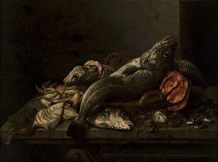 Issac Van Duynen, Naturaleza muerta con peces y mariscos, -1