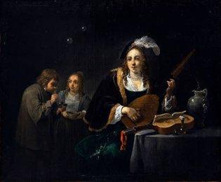 David Teniers II, INTERIOR CON DAMA TOCANDO LAUD Y DOS FIGURAS, 1640