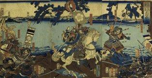 """Utagawa Yoshiiku (1833-1904), Escena de la gran batalla de Ōtsu Uchinohana según las """"Crónicas de la Gran Pacificación"""" 太平記之内大津打出浜大合戦之図"""