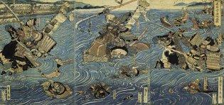 Utagawa Sadahide (1807-1873), La batalla en el río Uji entre los Minamoto y los Taira 源平宇治川合戦