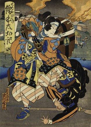 """Ilustrador sin identificar. Escuela de Osaka, Escena de una obra de kabuki basada en las """"Crónicas ilustradas de Toyotomi Hideyoshi"""" 絵本太功記"""
