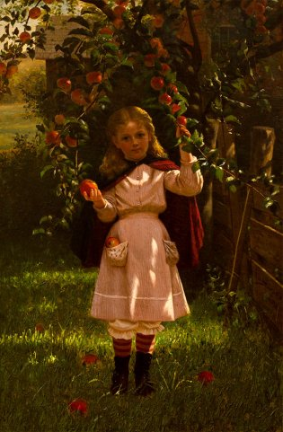 John G. Brown, Niña con manzanas, 1876