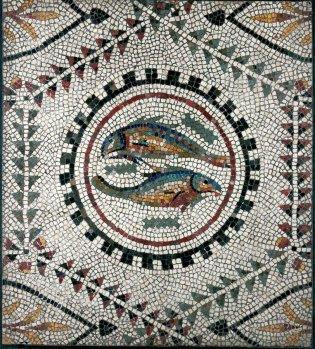 Anónimo, Mosaico con dos peces , -1