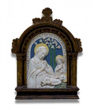 Della Robbia (siglos XV y XVI). Taller de, La virgen y el niño con San Juan Bautista