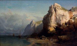 Thomas Alexanders Harrison, Paisaje marino con costas, -1