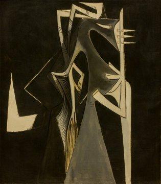 Wifredo Lam, Abalocha o Figura sobre fondo negro, 1951