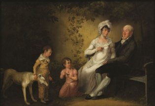 ANÓNIMO, ca. 1800 Familia en jardín Óleo sobre madera; 22 x 31,5 cm
