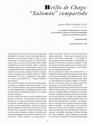"""Brillo de Chago: """"Salomón"""" compartido de Antonio Eligio Fernández (Tonel)"""
